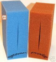 Filterschaum Schaumpatrone 10 X 10 X 50 cm PPi 20 Blau Patrone Bohrung  32 mm